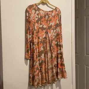 LOGO long shirt brown w pink flowers sheer trim